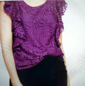 Mango Tops - Mango lace purple shirt. Plus size XL